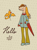 Hello card with hand drawn horse character and a bird Royalty Free Stock Photos