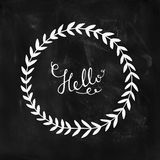 Hello card with hand lettering and nature wreath Royalty Free Stock Image