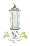Hello card with vintage lamp and two oak twigs. Hello design card with vintage lamp and two oak twigs Royalty Free Stock Images