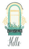 Hello card with a window and flowers. Hello design card with a window and flowers royalty free illustration