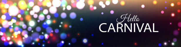 Hello Carnival banner with color lights background stock photo