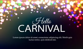Hello Carnival banner with color lights background royalty free stock image