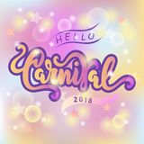Hello Carnival text as logotype, badge, patch, icon isolated on pastel colored background blurred background. Carnival hand drawn lettering for web, postcard Stock Photo