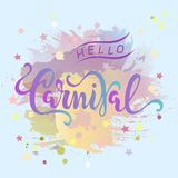Hello Carnival text as logotype, badge, patch, icon. Isolated pastel colors painting imitation background.  Carnival hand drawn lettering for web, postcard Stock Image