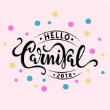 Hello Carnival text as logotype, badge, patch and icon. Isolated on pink background. Carnival hand drawn lettering for web, postcard, card, invitation, flyer Stock Photo