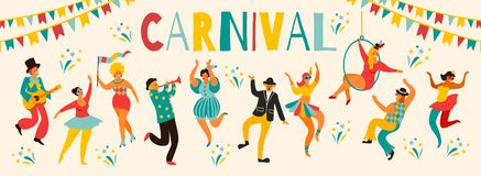 Hello Carnival Vector illustration of funny dancing men and women in bright costumes. Design element for carnival concept and other users stock illustration