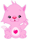 Hello cat. Cute pink kitten with a heart shape on his belly waving hello stock illustration