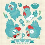Hello chicken. Happy chicken to be, happy eating, happy egg, happy little one, happy to be blue Stock Images