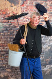 Hello chimney sweep. Friendly chimney sweep saying hello with his cap Royalty Free Stock Photos