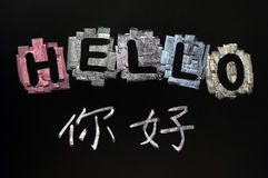 Hello with a Chinese version Royalty Free Stock Photos