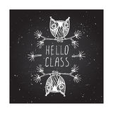 Hello class on chalkboard background Royalty Free Stock Photo