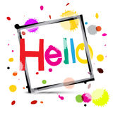 Hello. Colorful Hello Title with Colorful Splashes. Stock Photography