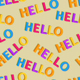 Hello Colorful Words in Seamless Pattern Stock Images