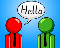 Hello Conversation Means How Are You And Consultation. Hello Conversation Indicating How Are You And Good Day royalty free illustration