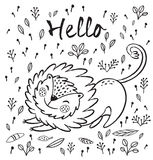 Hello. Cute lion cartoon vector illustration. Cartoon character fun lion. Black and white vector illustration. Funny cartoon lion vector print with text - Hello Stock Photography