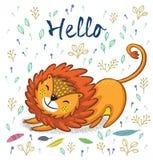 Hello. Cute lion cartoon vector illustration Royalty Free Stock Photo