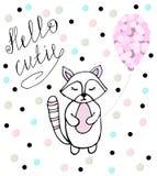 Hello cutie Babywasbeer met roze ballon royalty-vrije illustratie