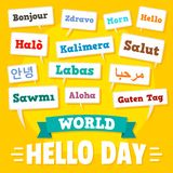 Hello day concept background, flat style stock illustration