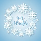 Hello-de achtergrond van het de Winterontwerp Origamisneeuwval vector illustratie