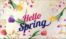 Hello-de achtergrond van de de lenteverkoop met sterren, hart en tulpen Vector illustratie behang vliegers, uitnodiging, affiches royalty-vrije illustratie