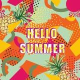 Hello-de achtergrond van de de zomerkaart over abstract vlekkenpatroon stock illustratie