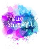 Hello-de achtergrond van de de zomerwaterverf Royalty-vrije Stock Foto's