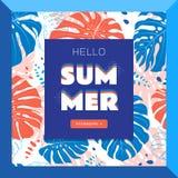 Hello-de banner van het de zomerweb, Tropische bladerenachtergrond Vlakke vectorillustratie stock illustratie