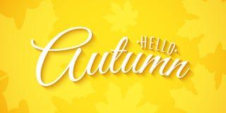 Hello-de herfst Adverterende banner De kaart van de uitnodigingsgroet het 3D kalligrafie en van letters voorzien De herfst kleurt Vector Illustratie