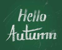Hello-de herfst, de vectorkaart van de krijttekst voor nieuw stading jaar Stock Foto's