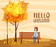 Hello-de Herfst, gelukkige meisjeszitting op een bank met een kop van koffie, onder een boom met dalende bladeren in een park, he vector illustratie