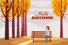 Hello-de Herfst, gelukkige meisjeszitting op een bank met een kop van koffie, onder een boom met dalende bladeren in een park, he royalty-vrije illustratie