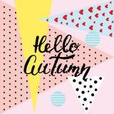Hello-de herfst hand het van letters voorzien, citaten Moderne motivatie calligrap Royalty-vrije Stock Fotografie