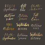 Hello-de herfst het van letters voorzien Royalty-vrije Stock Fotografie
