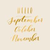 Hello-de herfst het van letters voorzien Stock Afbeeldingen