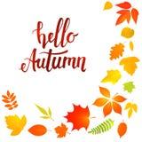 Hello-de herfst het van letters voorzien met gele bladeren Royalty-vrije Stock Afbeeldingen