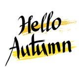 Hello-de Herfst, het vector van letters voorzien met abstracte achtergrond Stock Fotografie