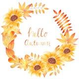 Hello-de herfst - waterverf hand het getrokken schilderen met zonnebloemen en bladeren royalty-vrije illustratie