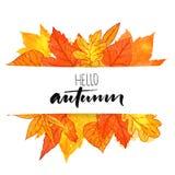 Hello-de herfstbanner met oranje en rode hand getrokken bladeren Vectorkalligrafieontwerp Dalingsachtergrond met gouden blad stock illustratie