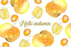 Hello-de herfstkaart met appelen Royalty-vrije Stock Foto