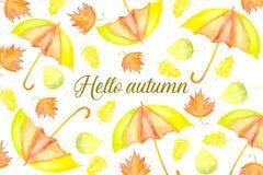 Hello-de herfstkaart met bladeren en paraplu's wordt verfraaid die Royalty-vrije Stock Fotografie