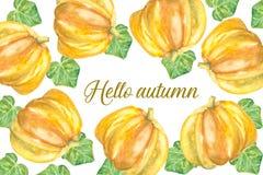 Hello-de herfstkaart met pumkins Stock Fotografie
