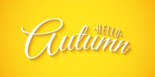 Hello-de Herfstuitdrukking De achtergrond van de reclame De kaart van de uitnodigingsgroet het 3D kalligrafie en van letters voor Royalty-vrije Illustratie