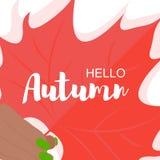 Hello-de herfstuitdrukking op oranje esdoornblad vector illustratie