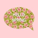 Hello-de kaart van de de lentegroet met bloemen stock afbeeldingen