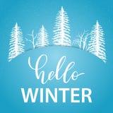 Hello-de kaart van de de Wintergroet met witte silhouetten van bomen en sneeuw vector illustratie