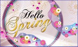 Hello-de lente, achtergrond met mooie bloemen Vector illustratie royalty-vrije illustratie