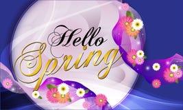 Hello-de Lente, blauwe achtergrond met mooie bloemen Vectorillustratie - Beelden vectorielles stock illustratie