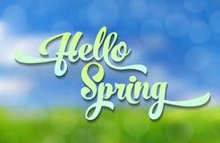 Hello-de Lente De blauwgroene gestileerde inschrijving verfraaide met gebladerte tegen de hemel met een bokeheffect De lente Royalty-vrije Stock Foto