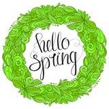 Hello-de lente bloemenkroon royalty-vrije illustratie