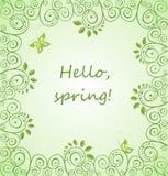 Hello, de lente! De lente groene kaart met decoratief bloemenpatroon Royalty-vrije Stock Afbeeldingen